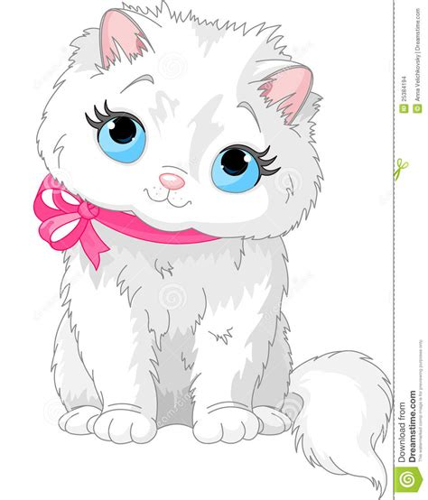Cute White Cat Stock Images   Image: 25384194