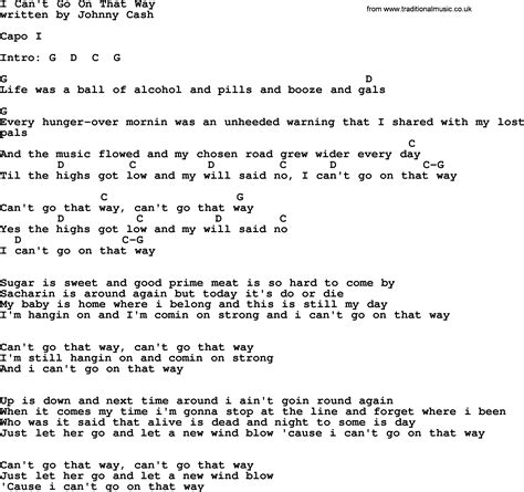 i can t go for that johnny cash song i can t go on that way lyrics and chords