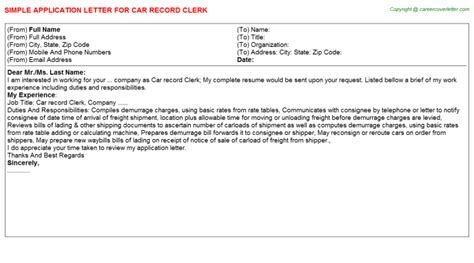 Auto Title Clerk Cover Letter by Import Export Clerk Application Letters