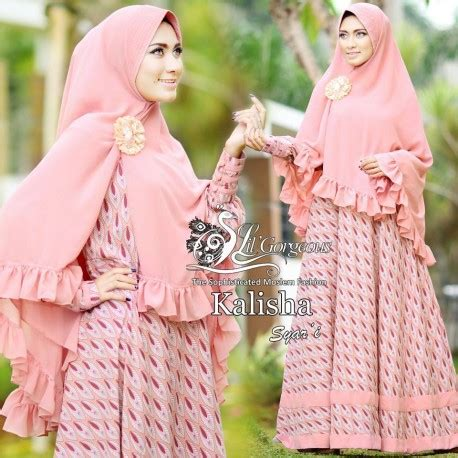 Only Gamis Dress Motif Bulu Angsa kalisha dusty pink baju muslim gamis modern