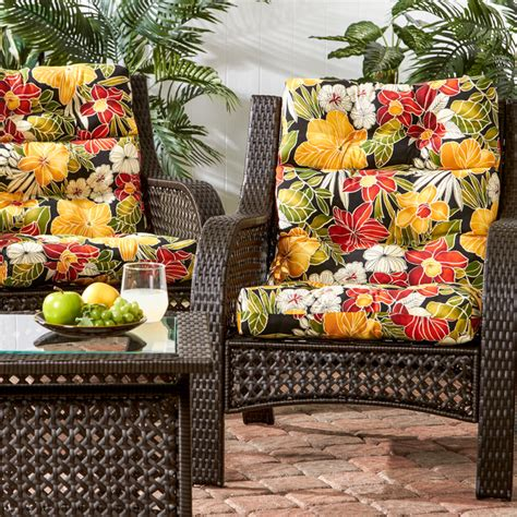 Patio Cushions Tropical Print Wicker Woven Chairs With Hibiscus Print Cushions