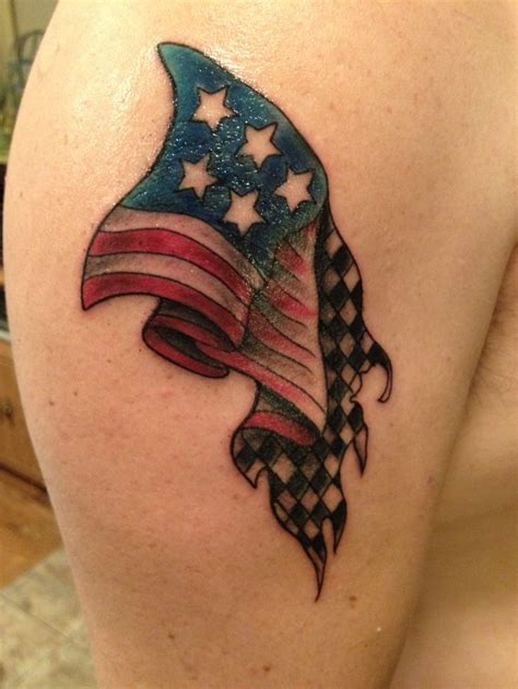 american flag fading into checkered flag my design and