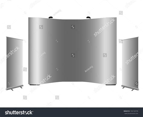 pop display templates blank rollup banner popup banner display stock vector