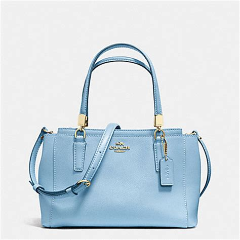 light blue coach wallet mini christie crossbody in crossgrain leather f34797