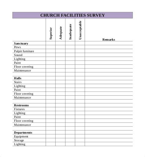 church inventory template 14 church survey templates free sle exle format
