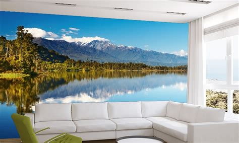 mountain wall murals mountain lake wall mural nature wallpapers wallpaper ink