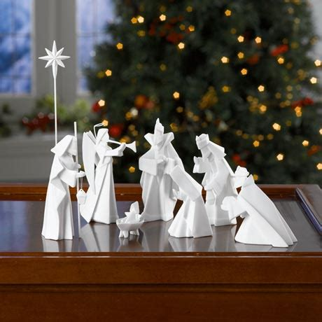 Origami Manger - porcelain origami nativity at signals hl6122