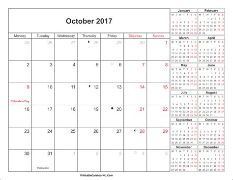 printable calendar 2017 with holidays october 2017 calendar printable with holidays pdf and jpg