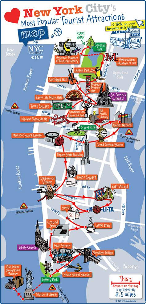 map new york city new york city most popular attractions map