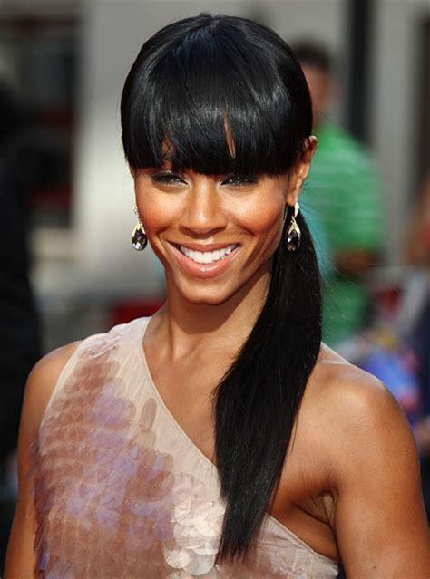 curly hair chinese bang black women jada pinkett smith s ponytail with chinese bangs hair