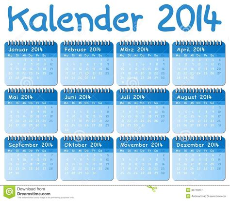 Calendario Aleman Calendario Alem 225 N 2014 Fotograf 237 A De Archivo Libre De