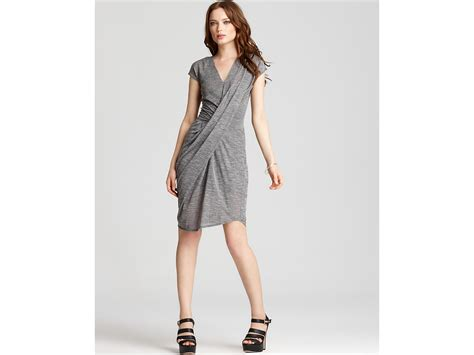 grey draped dress rebecca taylor draped dress in gray melange grey lyst