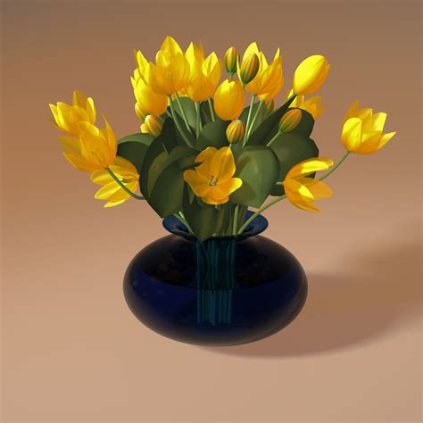3d Flower Vase by Flowers In Vase 2 3d Model Obj 3ds Fbx 3dm Dwg Cgtrader