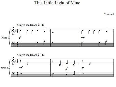 Song This Light Of Mine by This Light Of Mine Bible Song Duet Piano Sheet