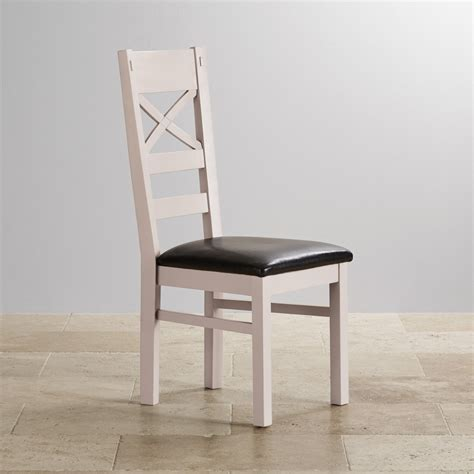 Shay Painted Rustic Oak Dining Chair In Black Leather Black And Oak Dining Chairs