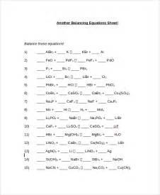 balancing chemical equations grade 10 worksheet