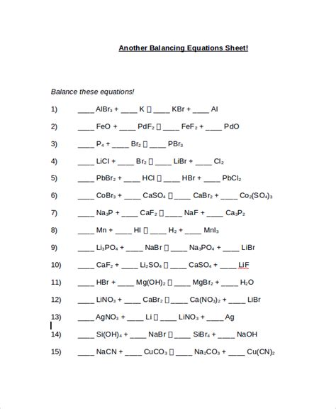 Practice Balancing Equations Worksheet by Balancing Equations Easy Worksheet Free Worksheets Library