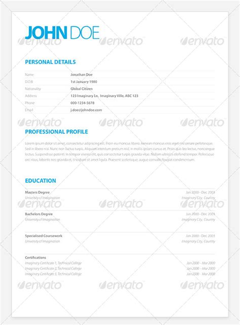 simple resume template indesign 25 best simple photoshop indesign resume templates web