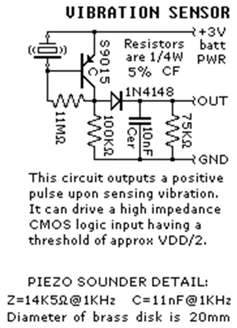 vibration sensors circuit diagram electronic circuits