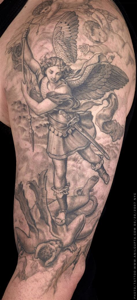 st michael sleeve tattoo designs anil gupta spiritual tattoos