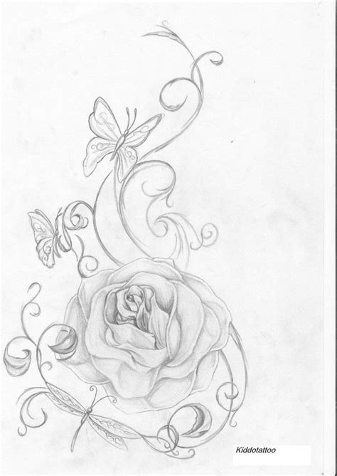roses and butterfly tattoo drawings and insect s by kiddotattoo
