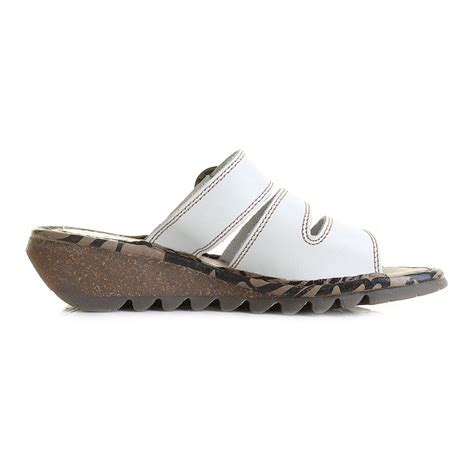Wedges Slipon Levis womens fly thea white slip on leather wedge sandals size
