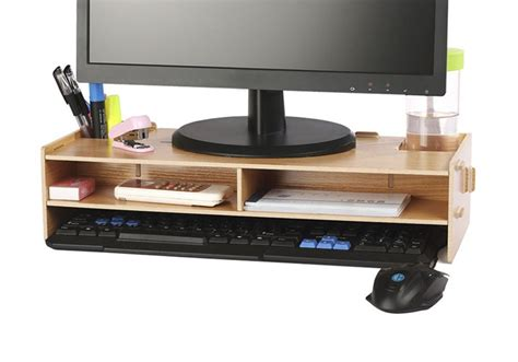 office desk with tv mount monitor shelf for desk front view of the setup showing the