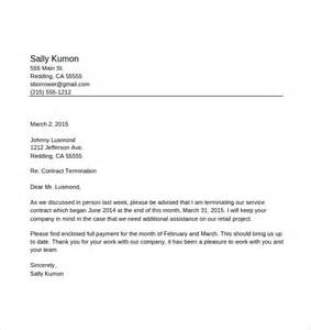 how to write a contract termination letter sample