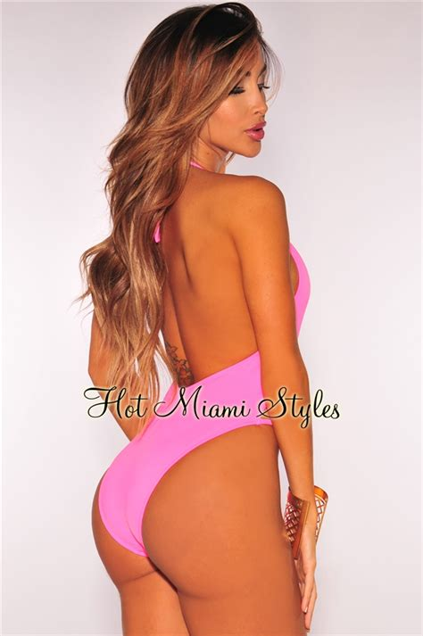 black pink high cut hot pink strappy halter high cut swimsuit