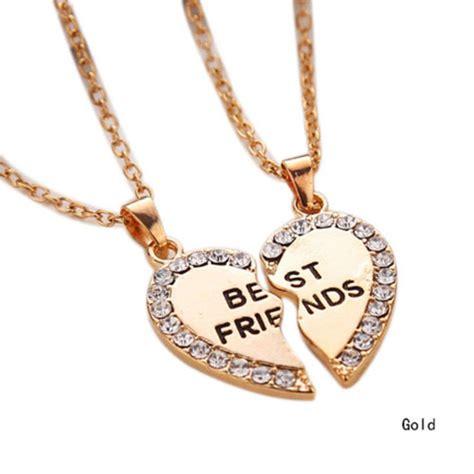 gold tone best friend rhinestone 2 pendants necklace