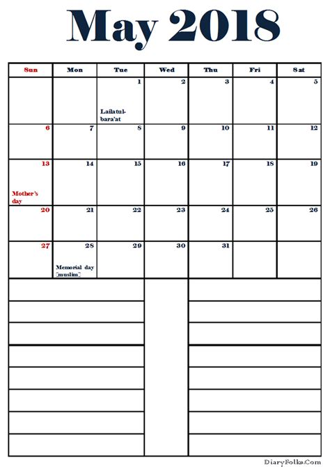 printable calendar 2018 with notes printable may 2018 calendar with notes