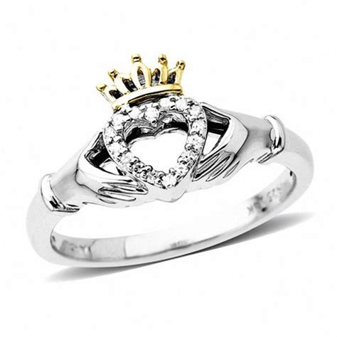 accent claddagh ring in sterling silver and 14k