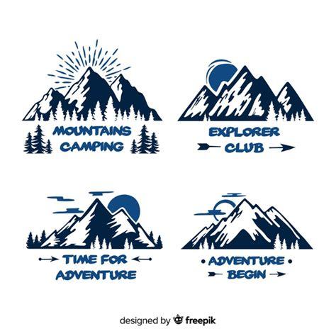 hand drawn adventure logo collection vector
