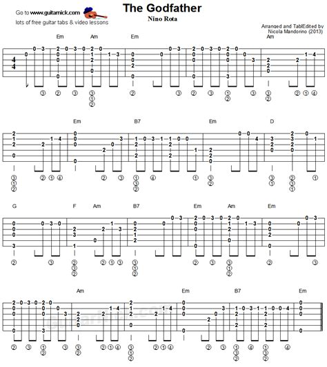 tutorial fingerstyle the godfather fingerstyle guitar tablature charts