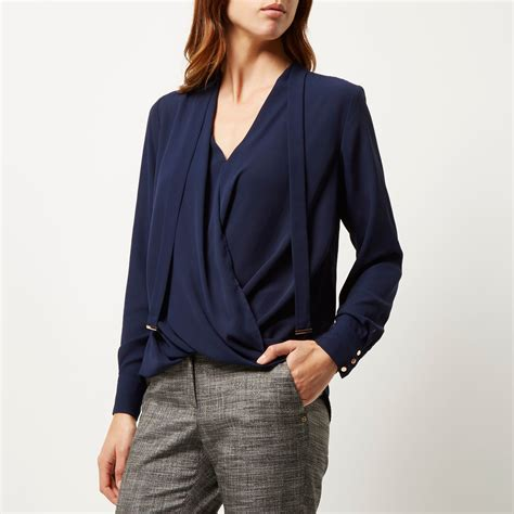 Sleeve Navy Blue Blouse by River Island Navy Sleeve Pussybow Wrap Blouse In Blue