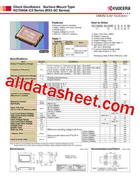 Marker 3 5 Kss By Wobble kc7050a c3 datasheet pdf kyocera kinseki corpotation