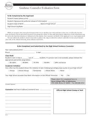 school counselor evaluation form image of the berea college application form fill