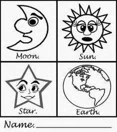 Simple art sun moon earth star printable craft fun pages for kids