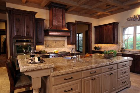 mediterranean kitchen cabinets natural tuscan inspired kitchen with island