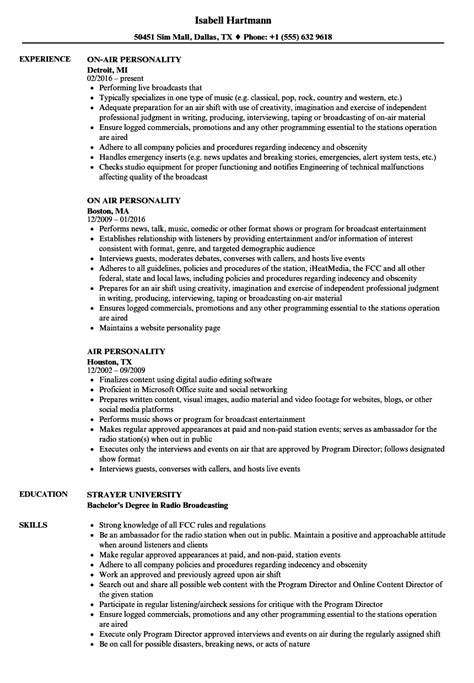 delighted radio personality resume ideas exle resume