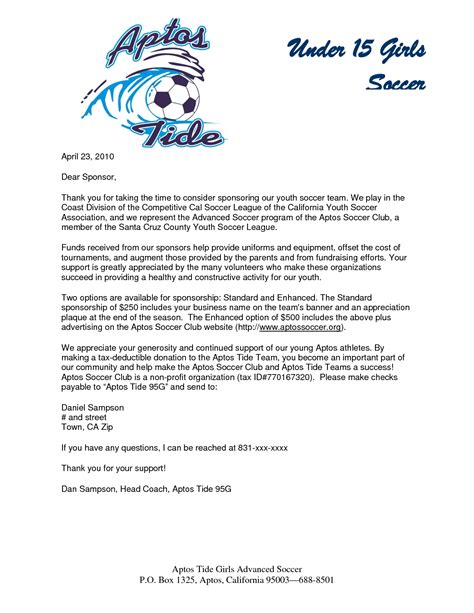 Sponsor Letter For parent thank you letter from youth athletes sponsorship