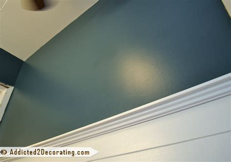 Wallpaper Over Dark Paint | bathroom makeover day 10 the wall color is it navy blue
