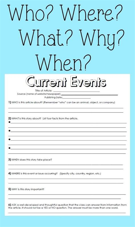 Current Events Homework Sheet by Current Events Handout Reading Skills And Students