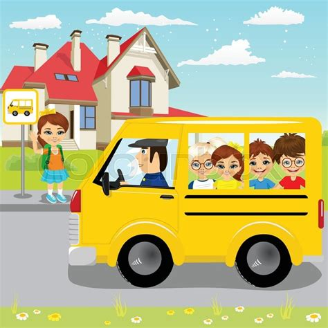 imagenes cojiendo little girl waiting for schoolbus on bus stop to ride to