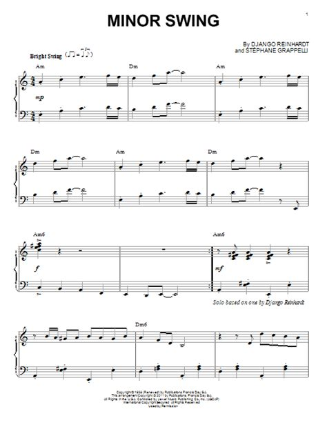 swing piano music minor swing sheet music direct