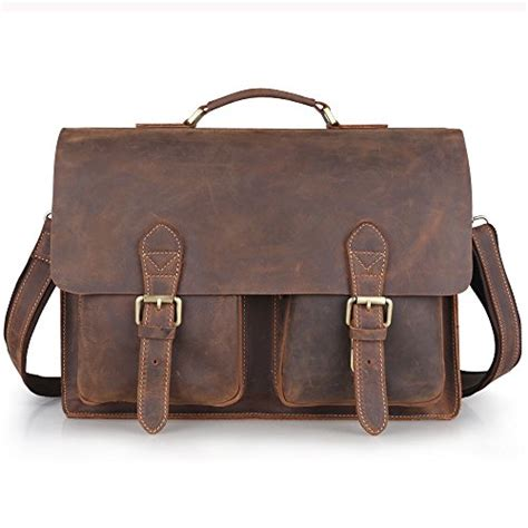 Handmade Leather Messenger Bags For - kattee handmade genuine leather laptop briefcase messenger