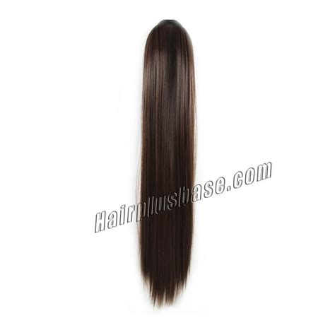 20 inch 4 medium brown 20 inch lace ribbon human hair ponytail ladylike
