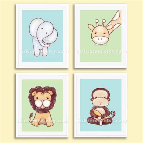 Nursery Wall Decor Boy Nursery Prints Baby Boy Nursery Decor Safari By Rkdsign88