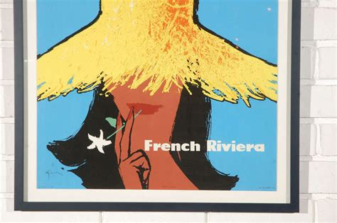 cannes riviera vintage travel poster vintage air quot riviera quot travel poster at 1stdibs