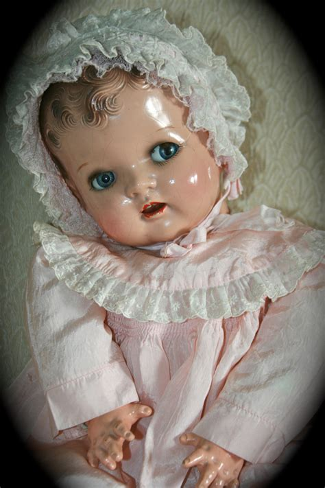 porcelain doll 1940s adorable vintage 1940 s composition baby doll moving